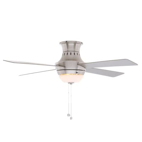 hton bay ceiling fan flush mount installation hton bay waterton ii 52 in indoor brushed nickel
