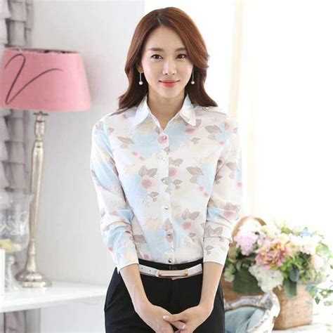 Beige Flower Pattern S M L Blouse 44298 white floral pattern sleeve button shirt womens tops shirts 1094wclo