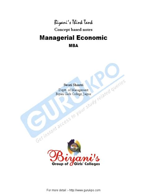 Managerial Economics Notes For Mba by Managerial Economics Mba Notes Price Elasticity Of Demand