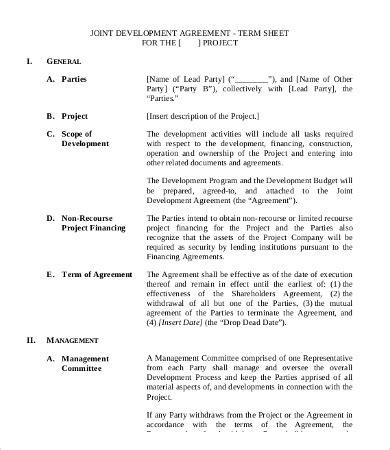 development agreement template   word excel