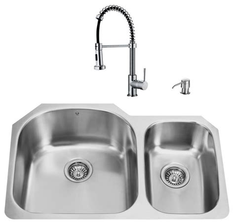 Vigo All In One 31 Quot Undermount Stainless Steel Kitchen Modern Kitchen Sinks Stainless Steel