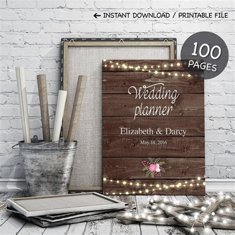 Background Of Wedding Planner by Printable Wedding Planner On Rustic Wood Background