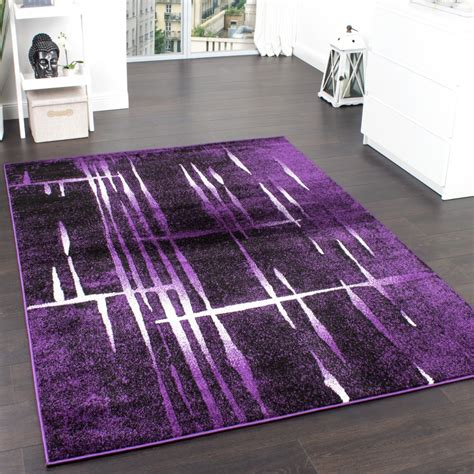 teppiche violett designer teppich modern trendiger kurzflor teppich in lila