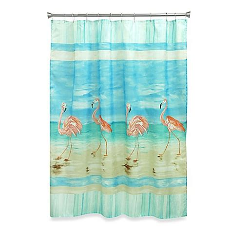 Beachy Shower Curtains Buy Flamingo Shower Curtain From Bed Bath Beyond
