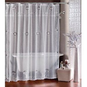 sheer fabric shower curtain lorraine home shower curtain sheer white ivy lace fabric