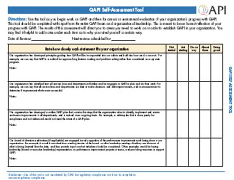 12 Action Steps To Qapi Take Your Qapi Pulse With A Self Assessment Cms Facility Assessment Template
