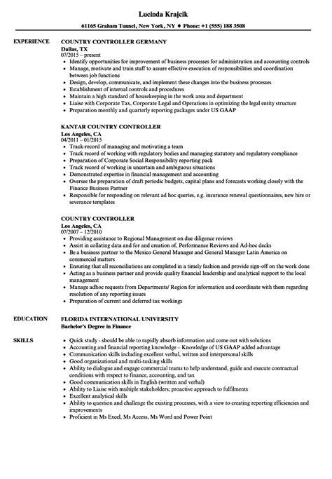 Controller Resume by Country Controller Resume Sles Velvet