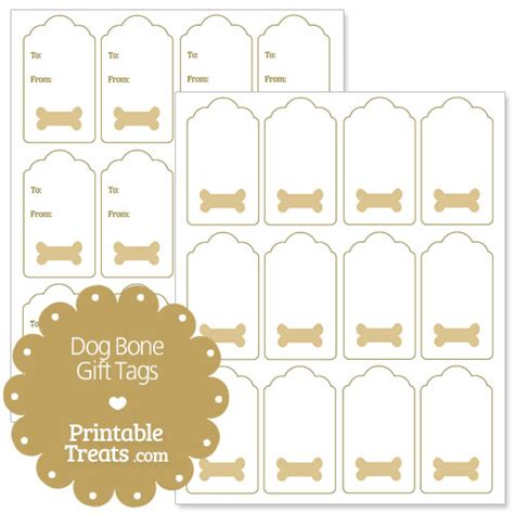 Printable Dog Gift Tags | printable dog bone gift tags printable treats com