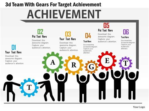 ab 3d team with gears for target achievement powerpoint