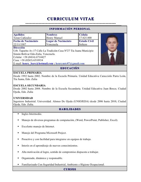 Modelo De Curriculum Vitae No Documentado Doc Slideshare 187 503 Error