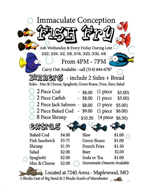 Fish Fry Flyer 2012 Immaculate Conception Parish Fish Fry Menu Template