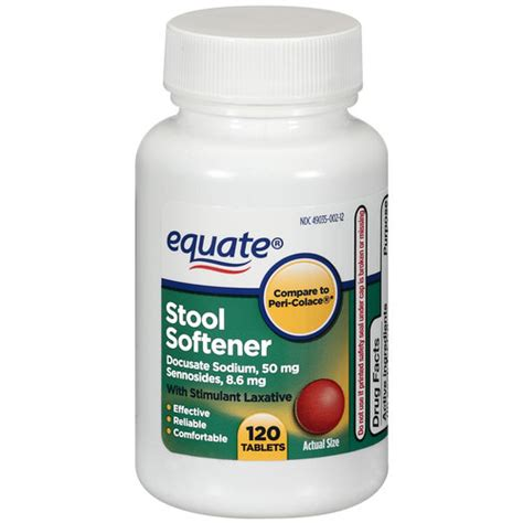 Stool Softeners by Equate Stool Softener Tablets With Stimulant Laxative 120ct Walmart
