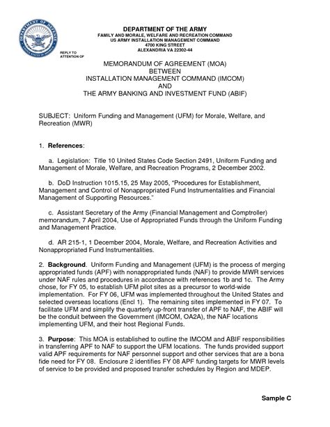 memorandum of agreement template army best photos of memorandum of agreement template free