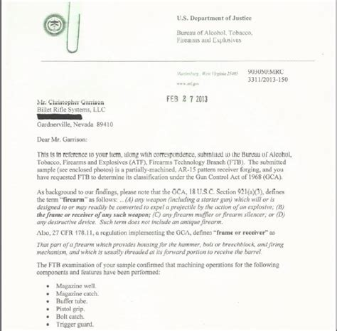 Letter Atf 80 Ar 15 Lower Receiver Determination Letter From The Atf The Firearm Blogthe Firearm
