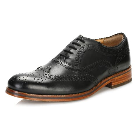 hudson mens black oxford brogues wingtip leather smart