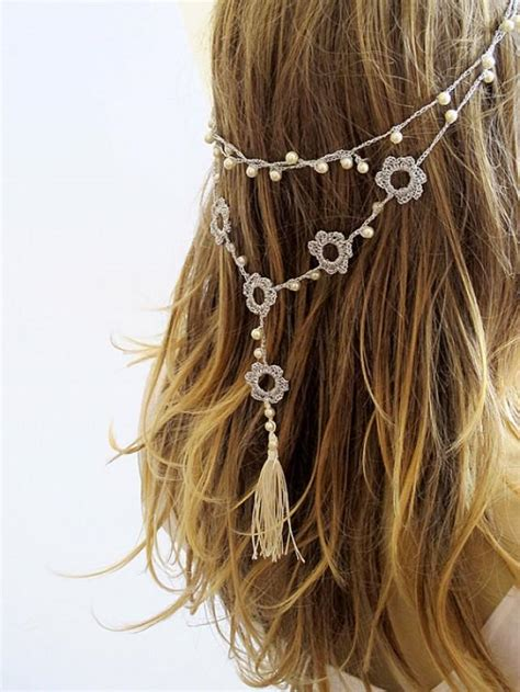 Handmade Headband Ideas - crochet headband and necklace hairband wedding pearl