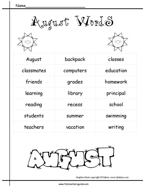 themes word list august lesson plans themes holidays and printouts