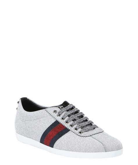 silver sneakers gucci silver glitter fabric web stripe low top sneakers