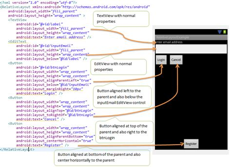 android layout xml r java android relativelayout exle android tutorial