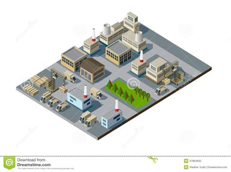 House Building Software Free isometric factory stock vector image of house building