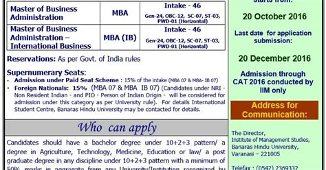 Fore Mba Admission 2016 by Mba College Notifications For 2017 Admissions