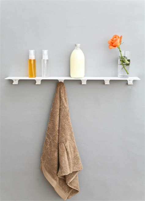 Bathroom Shelves With Hooks Minimalist Storage Shelf With Hooks For Kitchen Bathroom Or Hallway Digsdigs