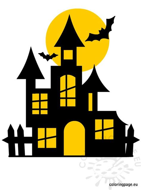 halloween castle coloring page