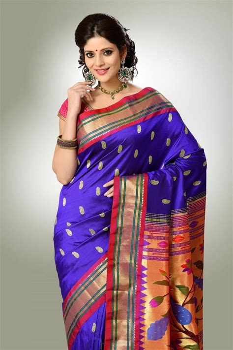 purple color  red border paithani saree designs