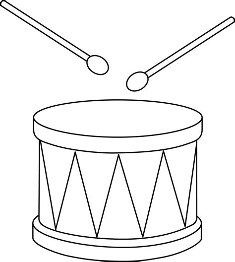 colorable marching drum free clip art