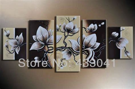 black and grey wall decor abstract flower painting on canvas white 5