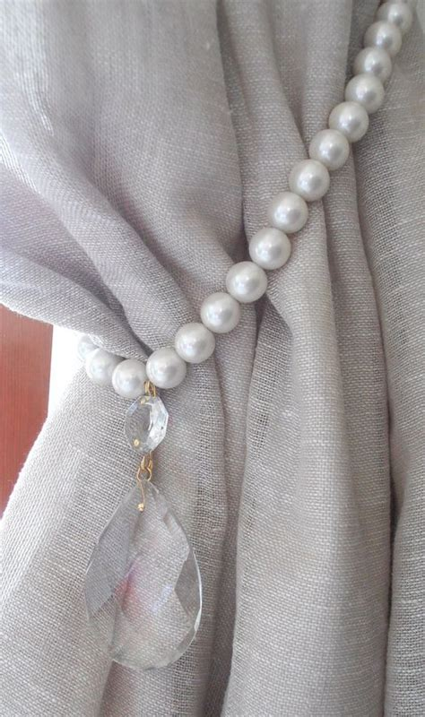 curtain tie back holder set of 2 pearls and glass crystals two decorative curtain