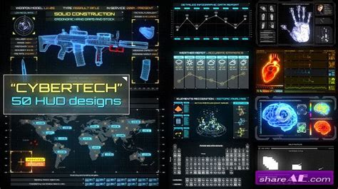 Videohive Cybertech Hud Infographic Pack After Effects Project 187 Free After Effects Templates Hud After Effects Template