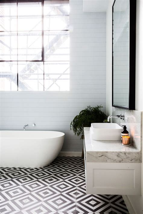 bathroom benchtop ideas amazing graphic floor tiles in this bathroom with a