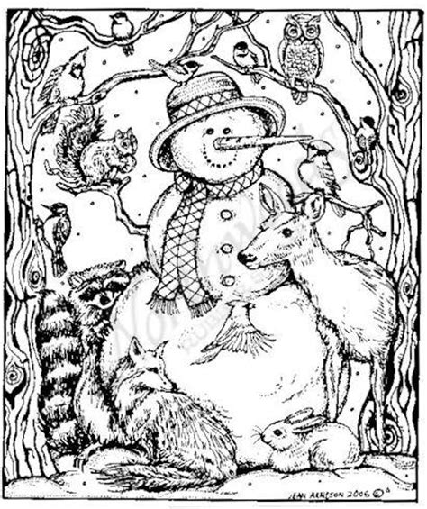 winter coloring pages for adults northwoods rubber sts wood mounted snowman and
