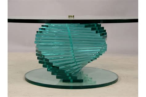 a stacked spiral glass coffee table with large top