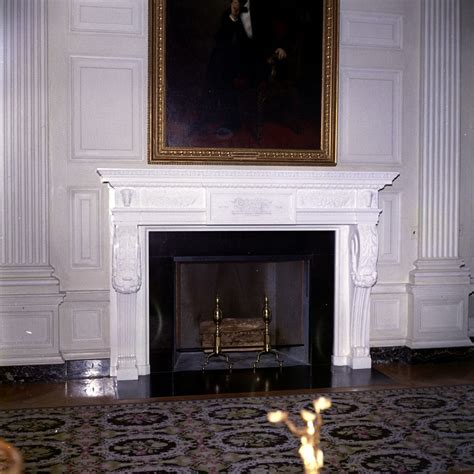 John Abraham House kn c22506 painting and fireplace in state dining room of