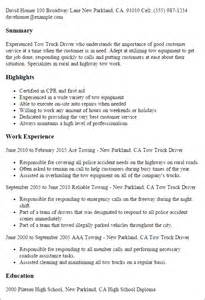 Truck Driving Resumes by Professional Tow Truck Driver Templates To Showcase Your Talent Myperfectresume