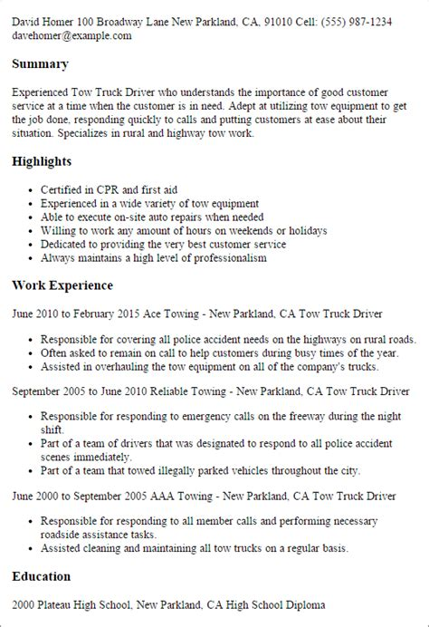 resume template for truck driving professional tow truck driver templates to showcase your