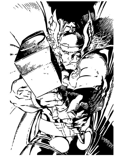 marvel comics thor superhero coloring page h m