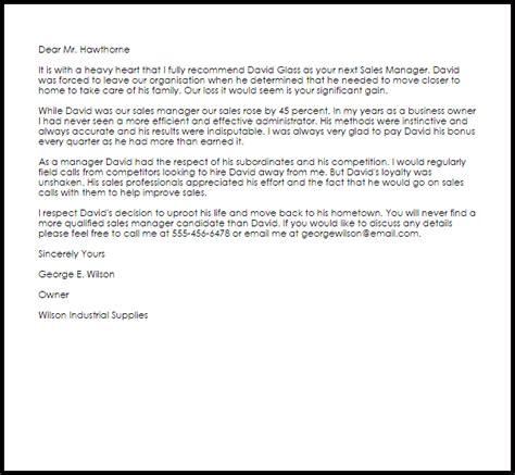 Sales Manager Recommendation Letter   LiveCareer