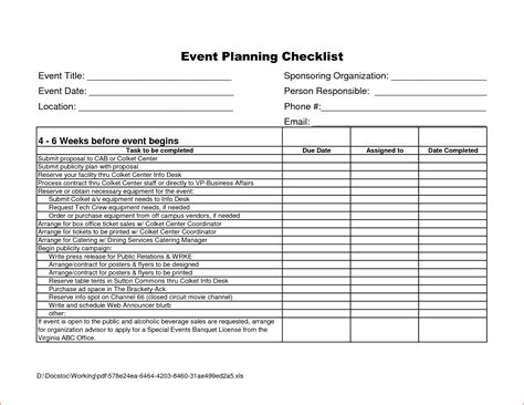 events checklist template 7 event checklist template bookletemplate org
