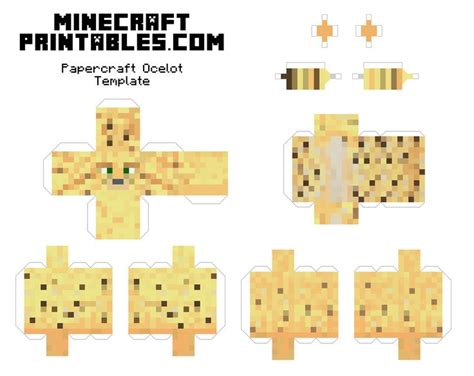 Minecraft Papercraft Free - free printable minecraft ocelot papercraft template print