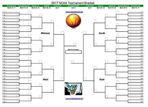 printable version ncaa bracket blank and printable ncaa tournament brackets for 2017