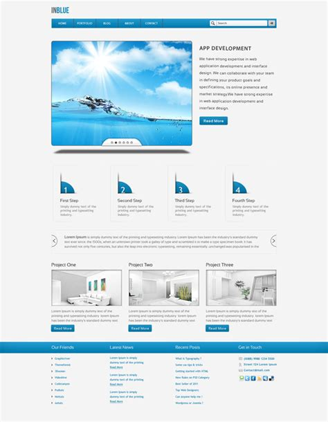 complete 5 pages company portfolio psd template inblue