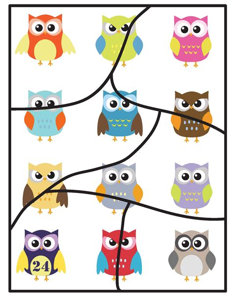 printable toddler puzzles freebies printable 6 piece colorful owl toddler puzzle