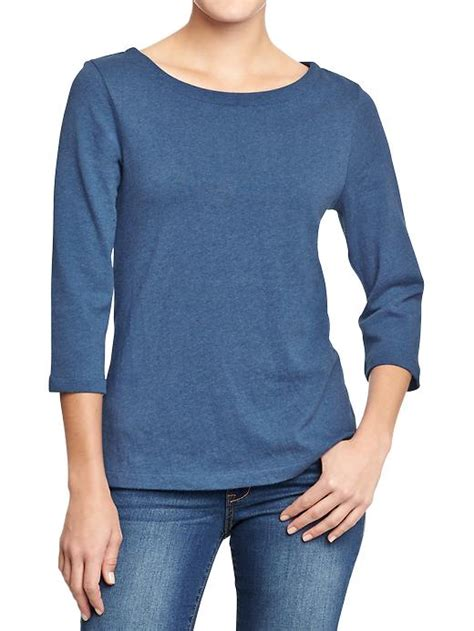 old navy boat neck old navy boat neck jersey tops in blue navy heather lyst
