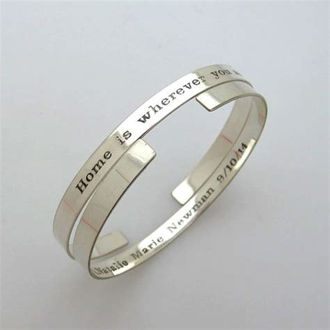personalized cuff bracelet custom engraved sterling silver