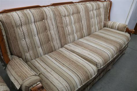 broyhill floral sofa with wood trim broyhill wingback sofa with wood trim