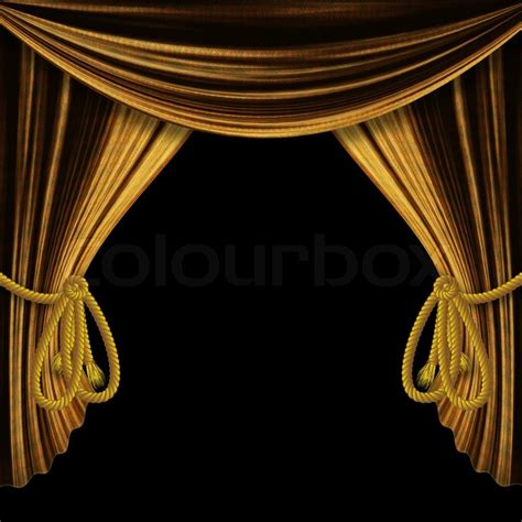 Home Decoration Curtains by Opened Golden Theater Drapes Curtains On Black Background