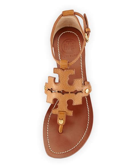 Sandal Wanita Ina Flat Shoes Beige lyst burch phoebe logo flat sandal in brown